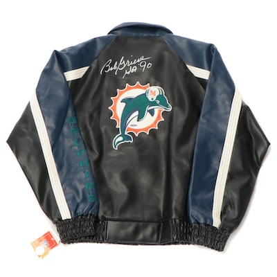 Bob Griese Signed NFL Faux Leather Miami Dolphins Team Jacket, Tri-Star COA