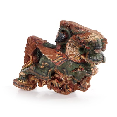 Chinese Hand-Painted Wooden Architectural Fragment of Dragon