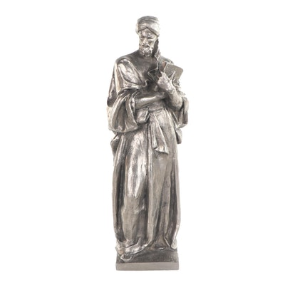 Spelter Sculpture of Robed Man Holding Scripture