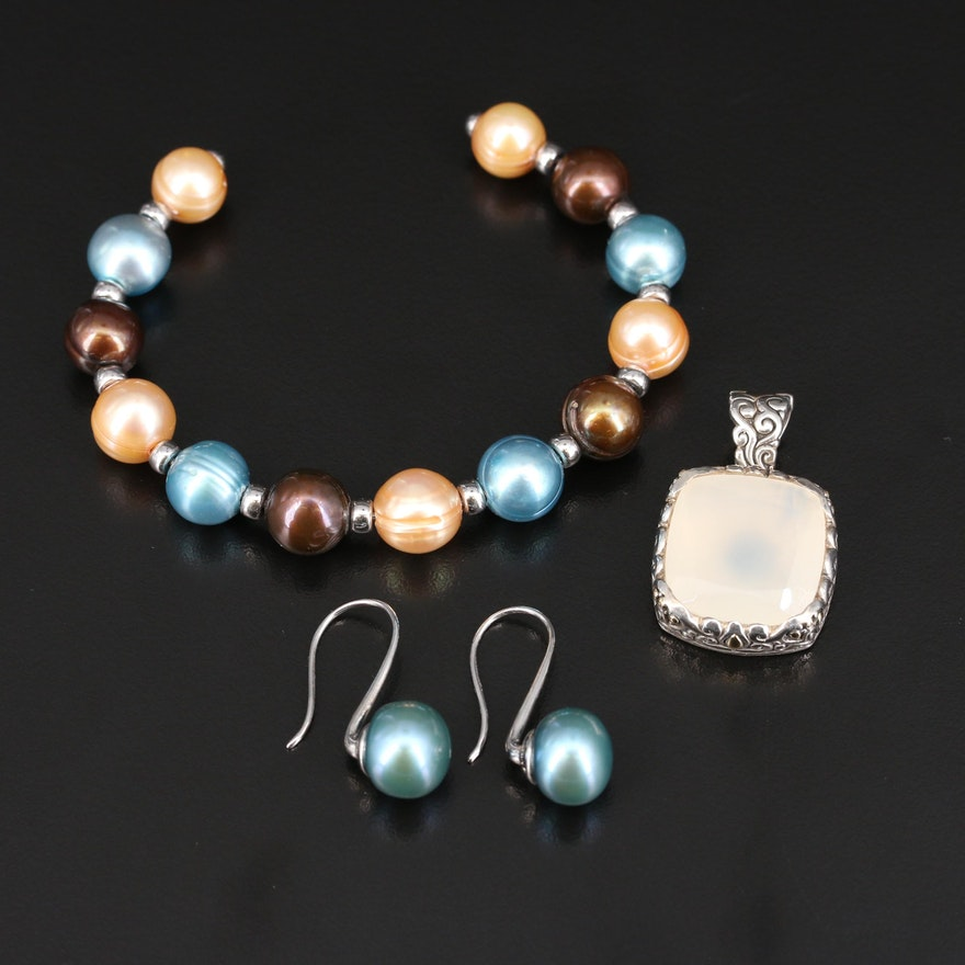Robert Manse Sterling and 18K Chalcedony Pendant with Pearl Cuff and Earrings