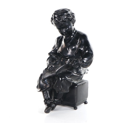 Cast Iron Sculpture of Young Lenin with a Book, 1960