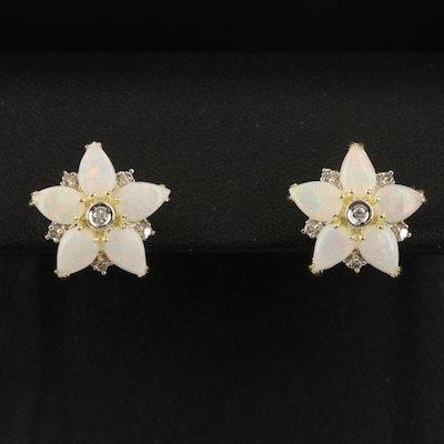 14K Opal and Diamond Flower Earrings