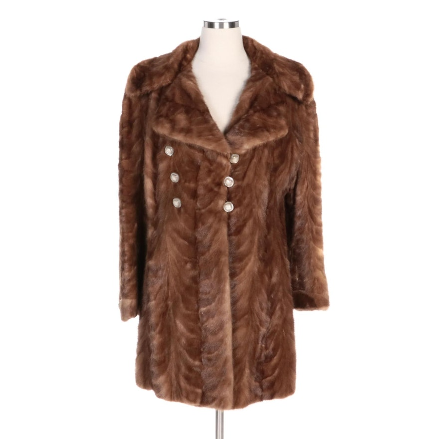 Mink Paw Fur Coat with Wide Notched Collar
