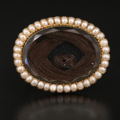 Victorian Hair Brooch with Pearl Frame and 14K Gold Back