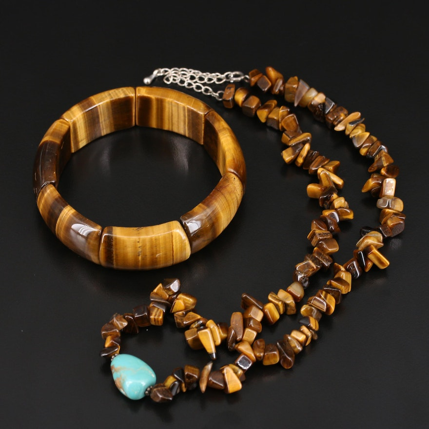 Sterling Tiger's Eye and Turquoise Necklace and Expandable Bracelet