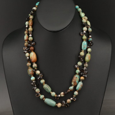 Desert Rose Trading Double Strand Gemstone Necklace with Sterling Clasp
