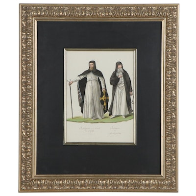 Watercolor Painting of French Priests and Garment Styles