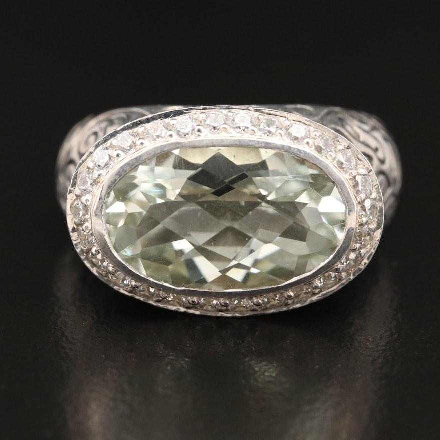 SeidenGang Sterling Prasiolite and Cubic Zirconia Ring