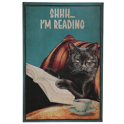 Contemporary Giclée of Black Cat Reading, 21st Century