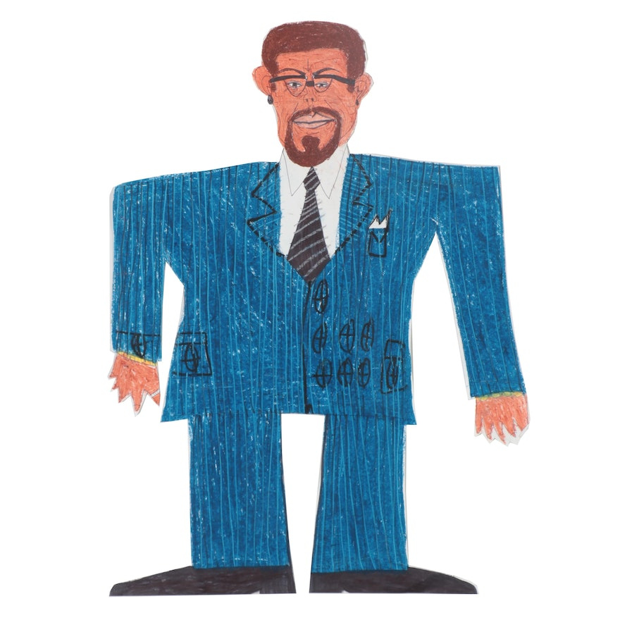 """Charlie Wallace Outsider Art Mixed Media Paper Cut-Out """"Malcolm X"""""""