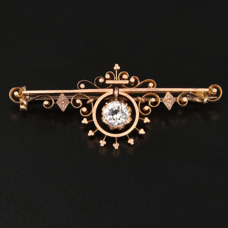 Victorian 10K Glass Bar Brooch