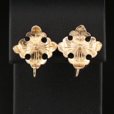 Signed 14K Patonce Cross Earrings Attributed to Baer