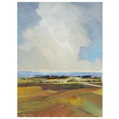 "Stephen Hedgepeth Landscape Oil Painting ""Blue Horizon,"" 21st Century"