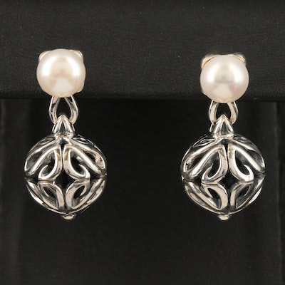 Ann King Sterling Pearl Earrings