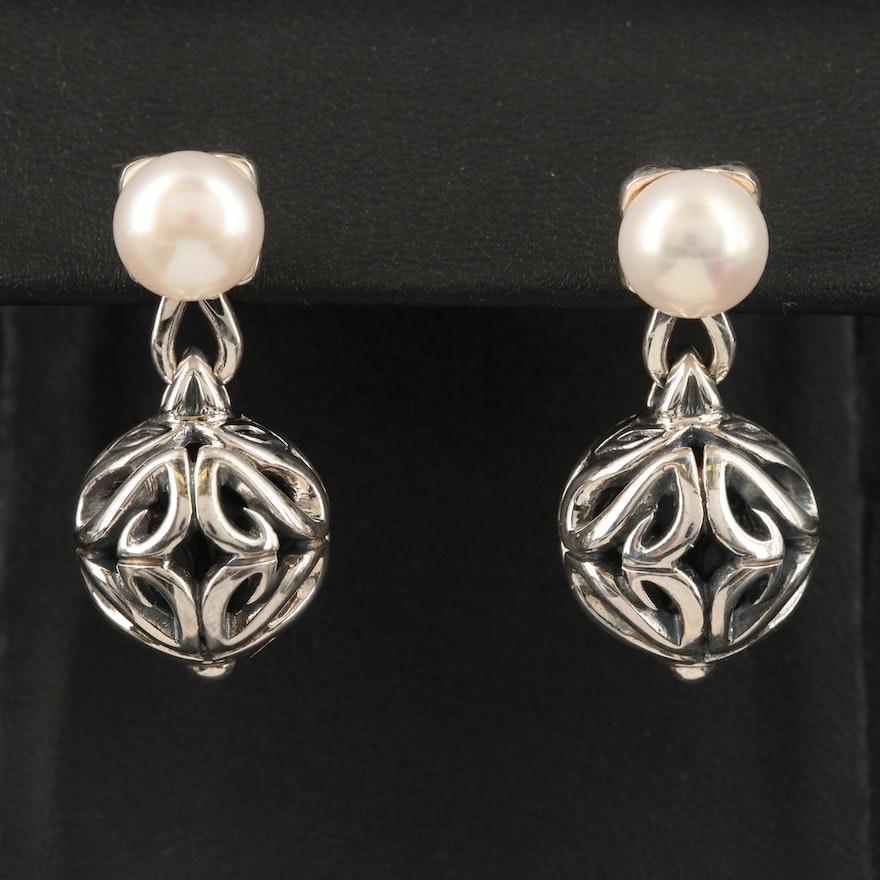 Ann King Sterling Pearl Earrings