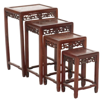 Chinese Mahogany Nesting Tables, Mid to Late 20th Century
