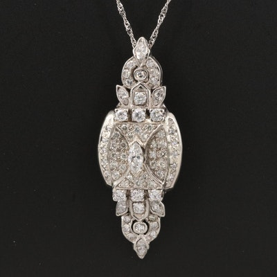 14K 1.76 CTW Diamond Pendant on 10K Chain Necklace