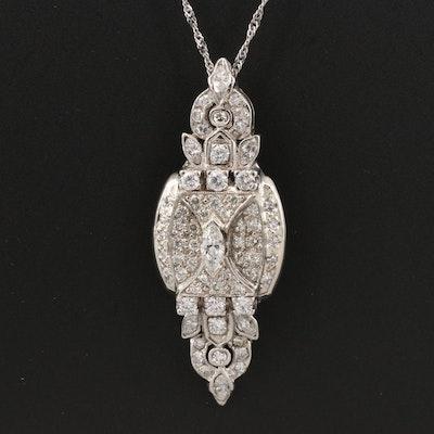 14K 1.76 CTW Diamond Pendant on 10K Chain Necklace