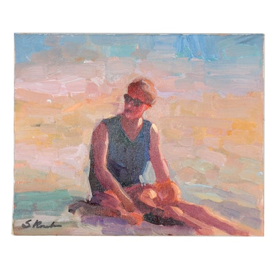 Sally Rosenbaum Figural Beach Scene Oil Painting