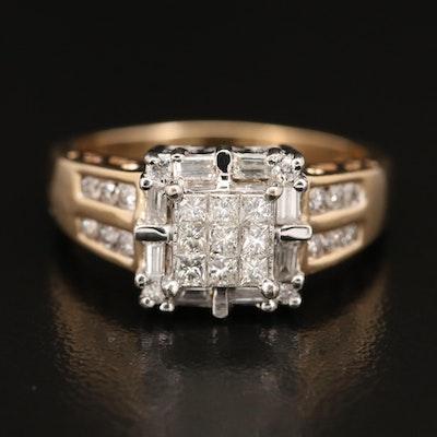 14K Invisible Set Diamond Halo Ring