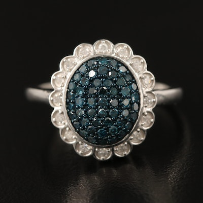 Sterling Blue Diamond and Diamond Ring