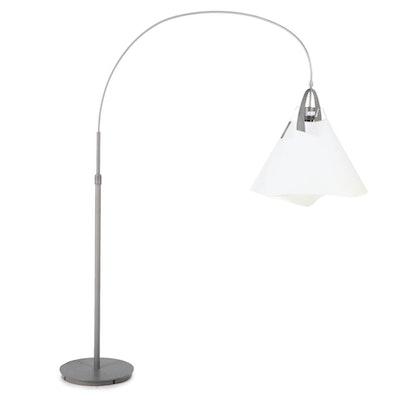 Arching Silver Metal Floor Lamp