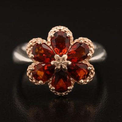 Ann King Sterling Madeira Citrine Floral Ring