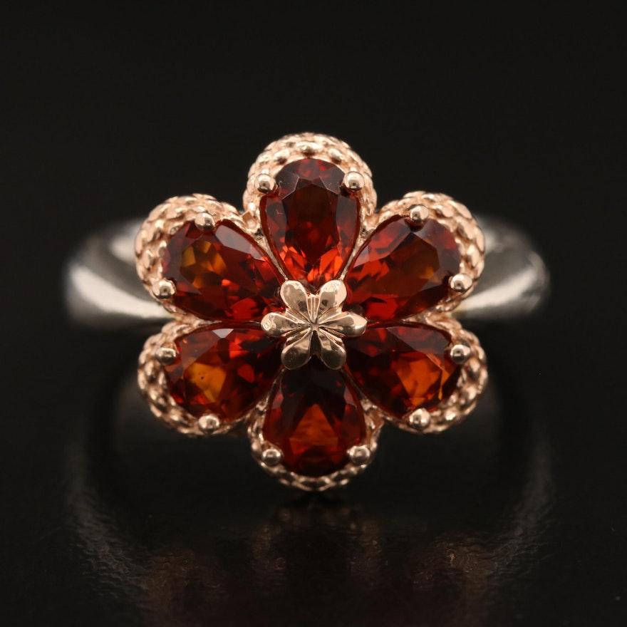 Ann King Sterling Madeira Citrine Floral Ring