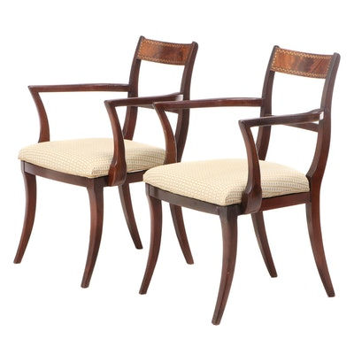 Pair of Neoclassical Style Mahogany and Marquetry Armchairs