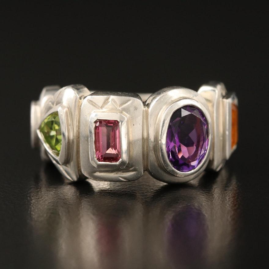 SeidenGang Sterling Ring Including Tourmaline, Amethyst, Peridot