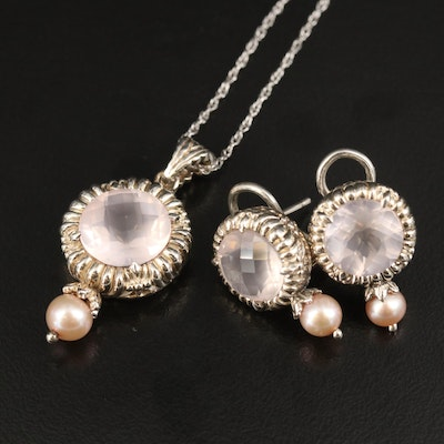 Sterling Rose Quartz and Pearl Necklace and Earrings