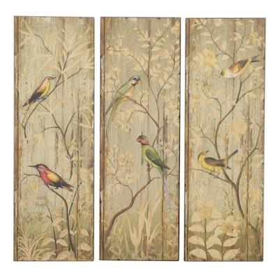 Wooden Panels with Printed Bird Decor, Set of Three, 21st Century