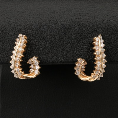 14K 1.02 CTW Diamond Twisted J-Hoop Earrings