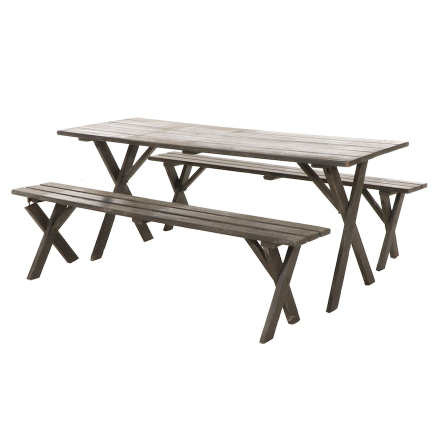 Painted Wood Picnic Table and Benches, Late 20th Century