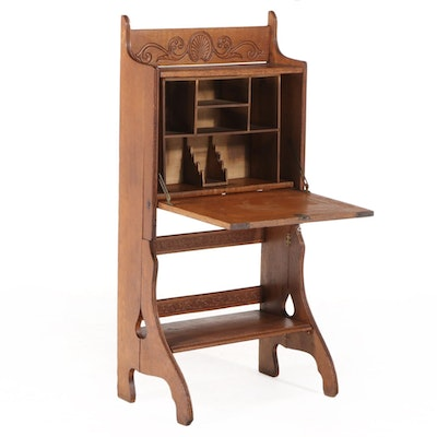 Late Victorian Press-Decorated Oak Collapsible Fall-Front Desk, circa 1900