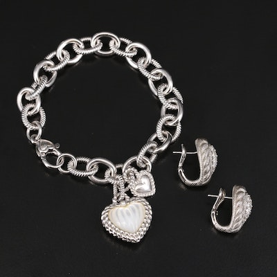 Judith Ripka Sterling Mother of Pearl and Cubic Zirconia Bracelet and Earrings