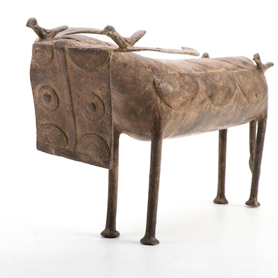 West African Cast Bronze Buffalo Sculpture