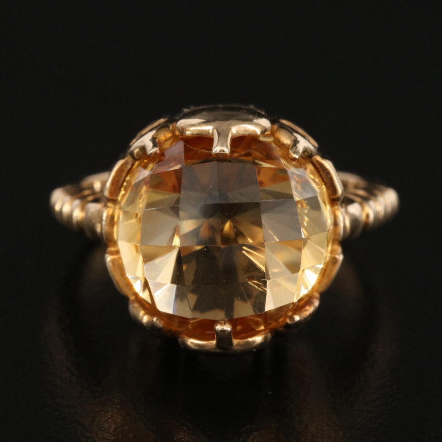 10K Citrine Ring with Architectural Design