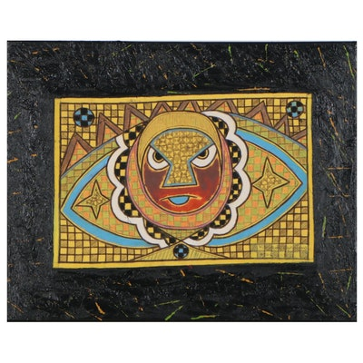 "Kayode Buraimoh Mixed Media Painting ""Star of Hope,"" 2012"