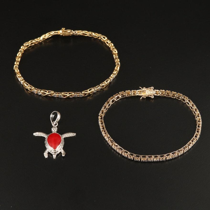 Sterling Diamond Bracelets with Enamel Turtle Pendant