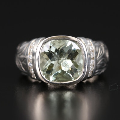 SeidenGang Sterling Prasiolite and Cubic Zirconia Ring with Foliate Detail