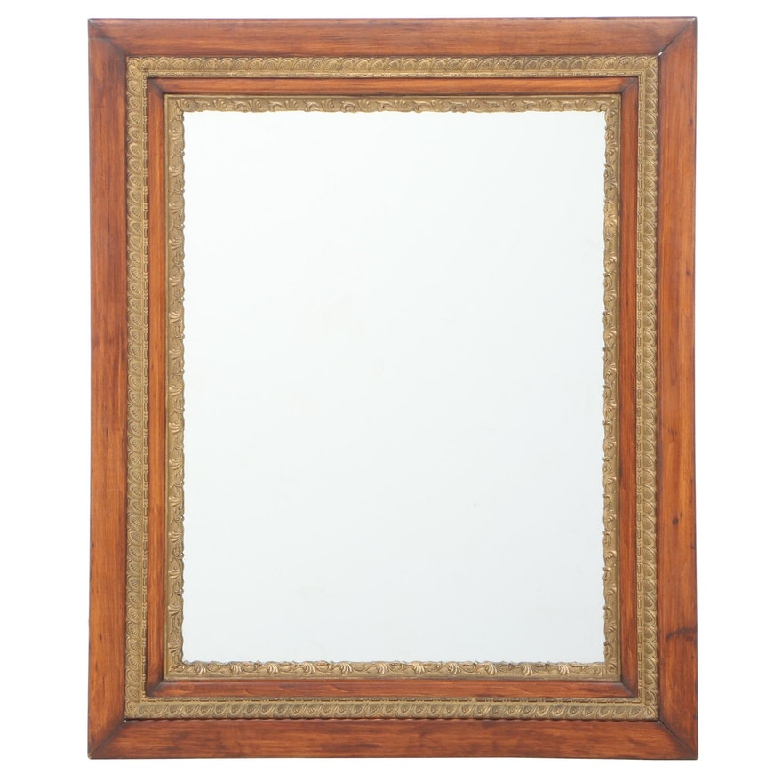 Late Victorian Poplar and Parcel-Gilt Mirror, Late 19th/Early 20th Century