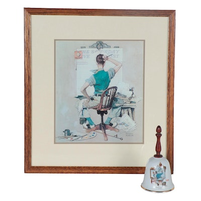 Offset Lithograph and Ceramic Bell after Norman Rockwell