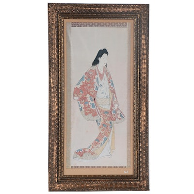 Offset Lithograph of Ukiyo-e Style Woman, 21st Century