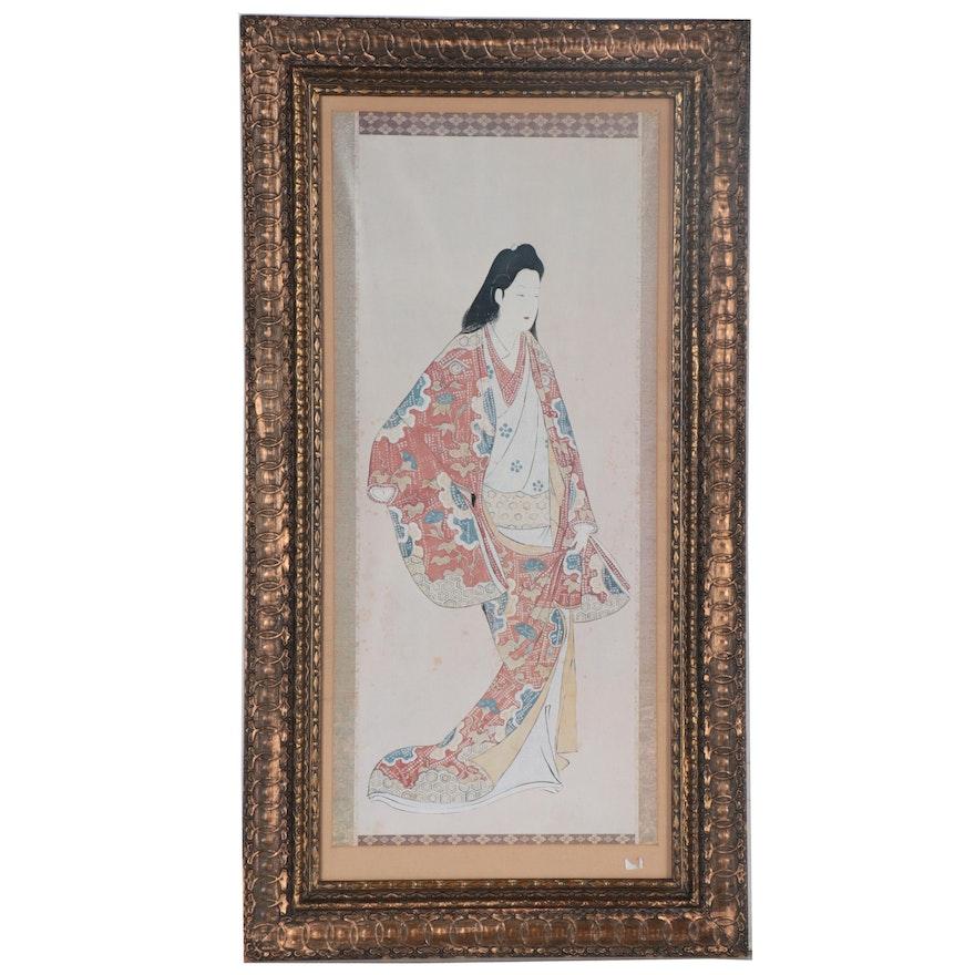 Offset Lithograph of Ukiyo-e Style Woman, 21st Century
