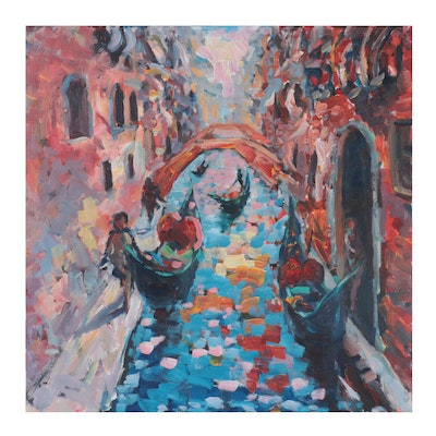 "Elle Raines Acrylic Painting ""Afternoon in Venice"""