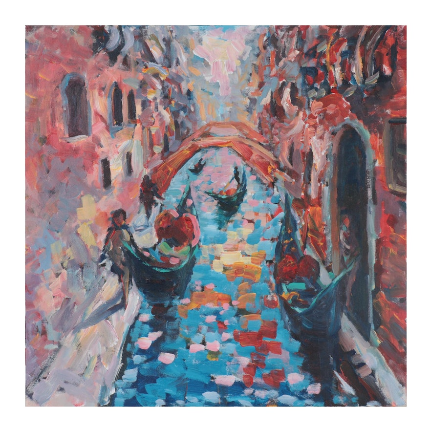 """Elle Raines Acrylic Painting """"Afternoon in Venice"""""""