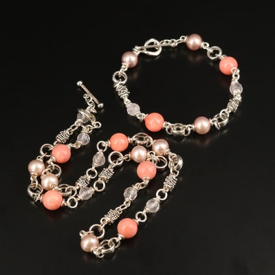 Michael Dawkins Sterling Coral, Quartz and Pearl Beaded Necklace and Bracelet