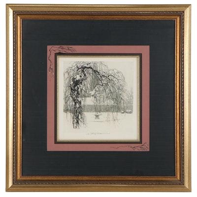 "Luigi Kasimir Hand-Embellished Engraving ""Heitzing,"" Early 20th Century"