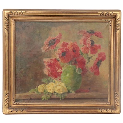 Max Streckenbach Still Life Oil Painting of Poppies, Early 20th Century